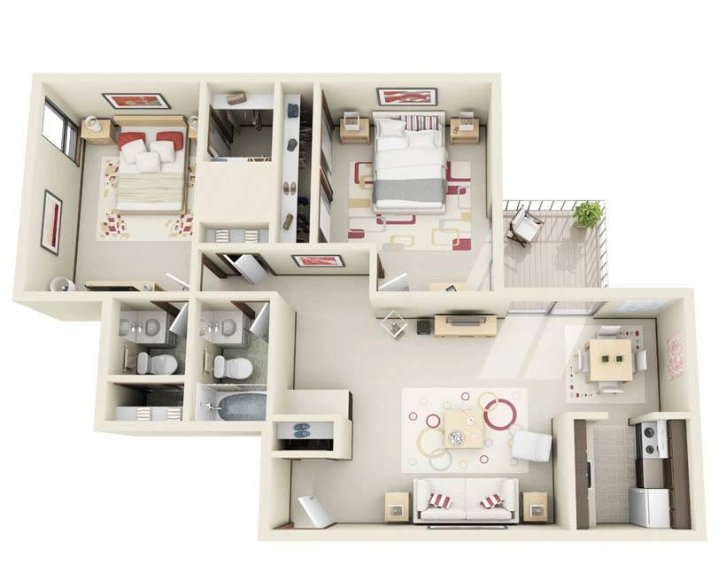 2 Bedroom floor plan at Normandy Village Apartments