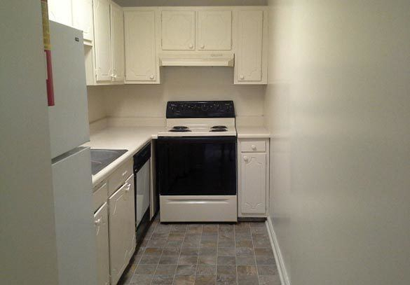 The kitchen inside our Sumter apartments