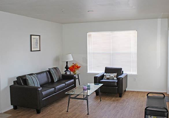 The living room at our Tucson apartment homes