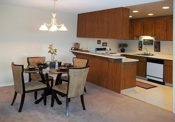 A view of the dining room and kitchen at our apartments in Reno