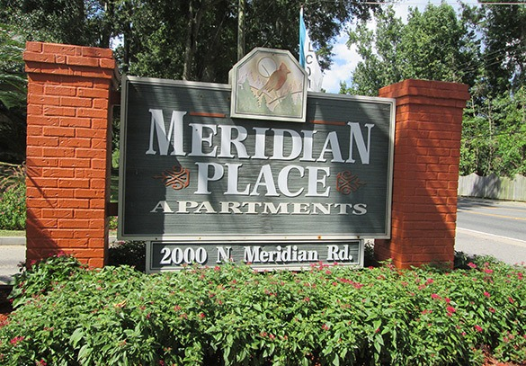 Entrance sign to our apartments in Tallahassee