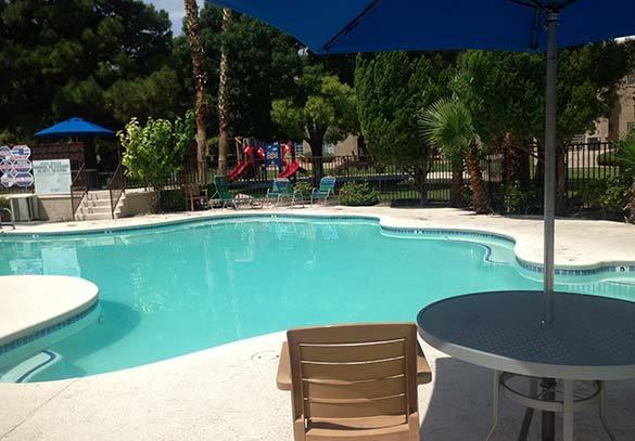 Relaxing swimming pool area at apartments in Las Vegas