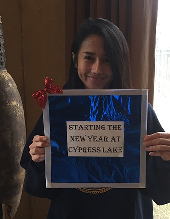 One of our residents showing her love for Cypress Lake at Stonebriar.
