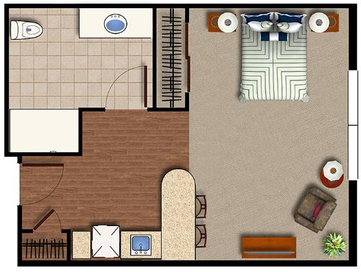 Assisted Living studio at Sage Desert