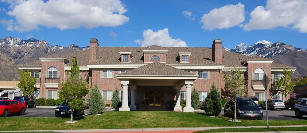 Beautiful exterior of senior living in Salt Lake City.