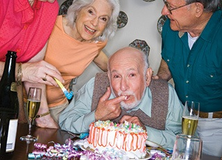 Senior living in Feasterville Trevose are celebrating with cake