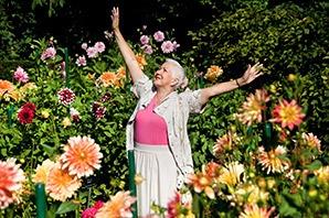 Senior living in Saint George enjoying the flowers