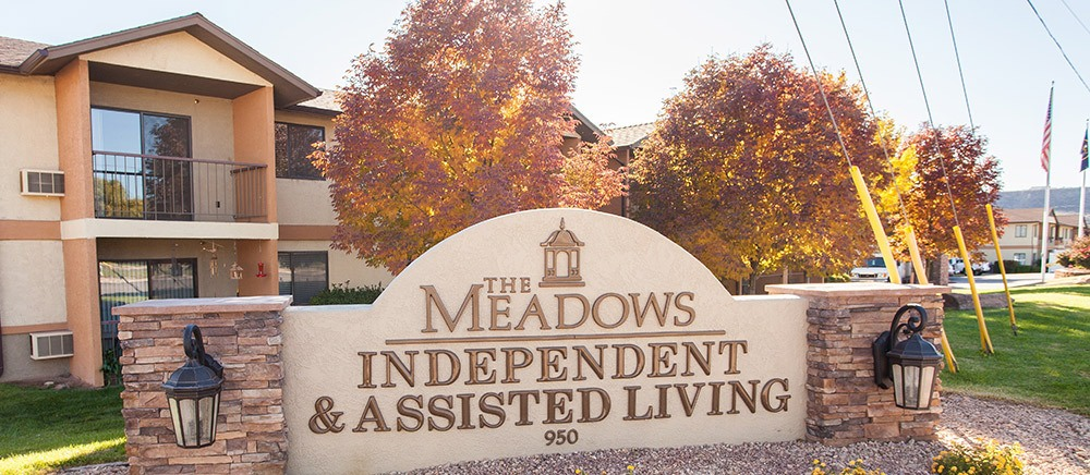 Welcome sign at senior living in Saint George.