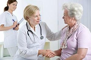Resident getting doctors help at the senior living community in Salt Lake City