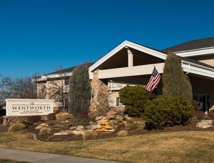 Welcoming entrance at senior living in Salt Lake City.