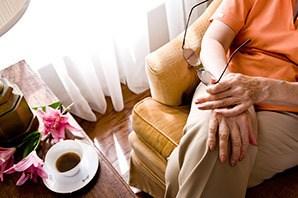 Sandy senior living shows resident relaxing