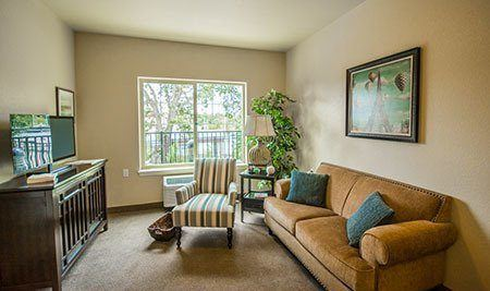 Living Room and Bedroom at senior living in Orangevale