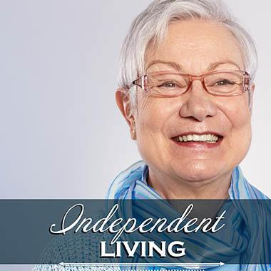 Happy Independent Living Resident at Bishop Place Senior Living.