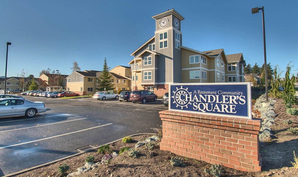 Front entrance at Chandler's Square Retirement Community in Anacortes.
