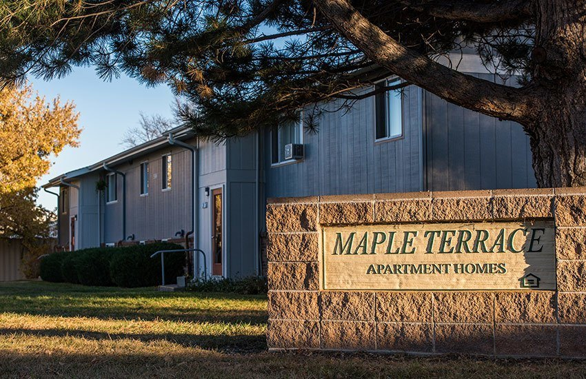 Our sign welcomes residents and their guests at Maple Terrace in Loveland.