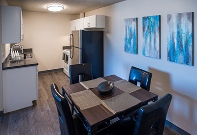 Modern features and appliances in the kitchen of your apartment home at Maple Terrace in Loveland.