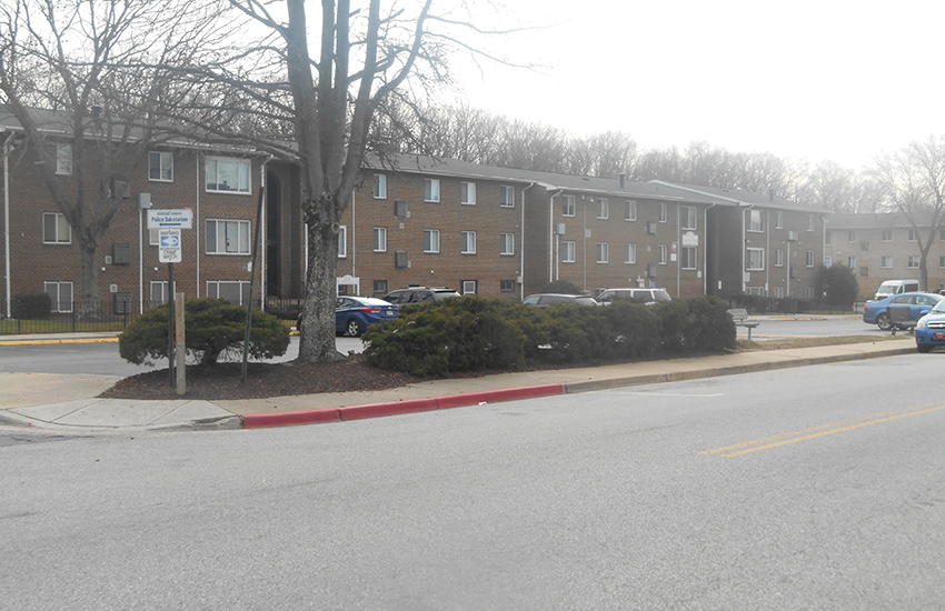 View from the street at Woodside Gardens Apartments in Annapolis, MD