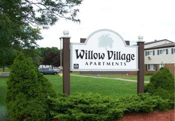 The sign at the entrance of Willow Village in Sharon, PA