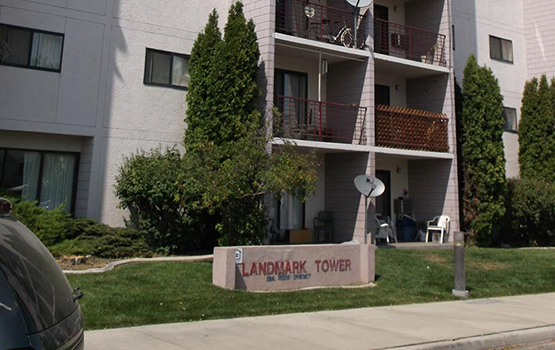 Our sign at Landmark Tower in Nampa welcomes residents and their guests.