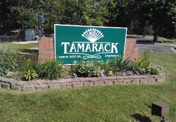 Sign at the entrance of Tamarack in Holt,MI