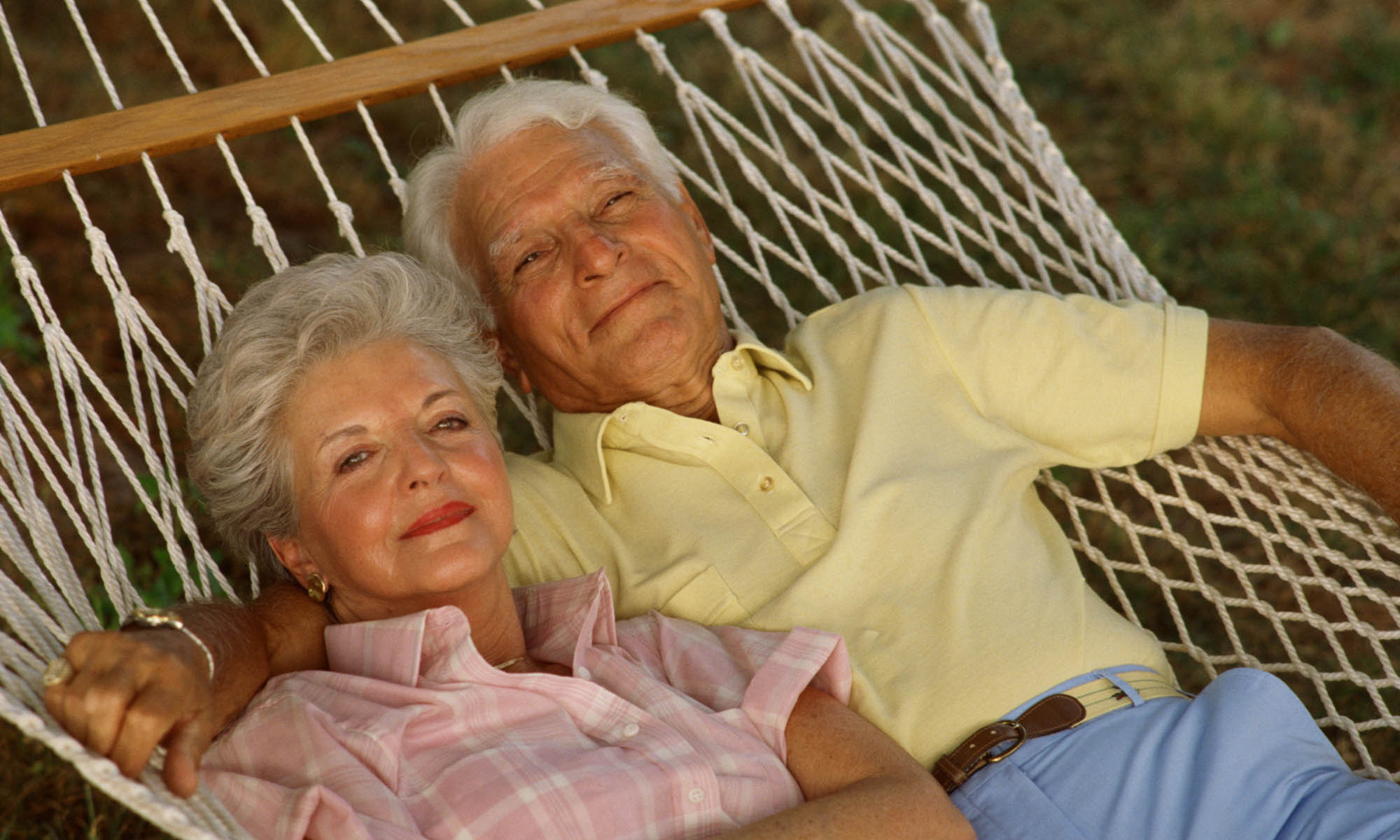 Senior couple in a hammock