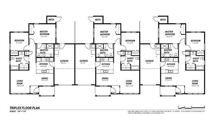 Senior Living Floor Plans – Triplex Floor Plans With Garage