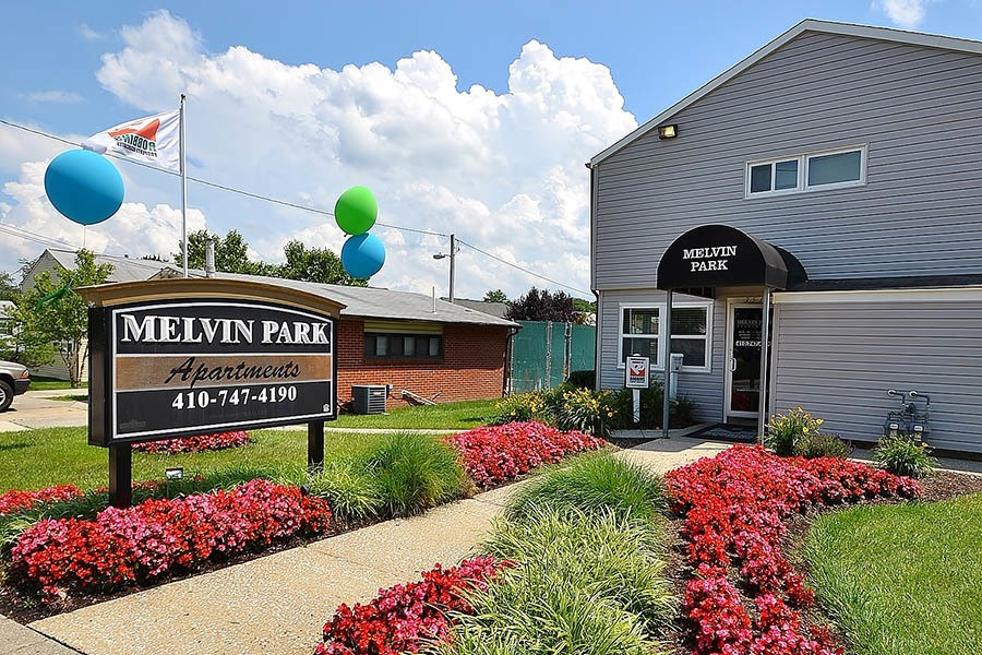 Signage at Melvin Park Apartments in Catonsville, MD