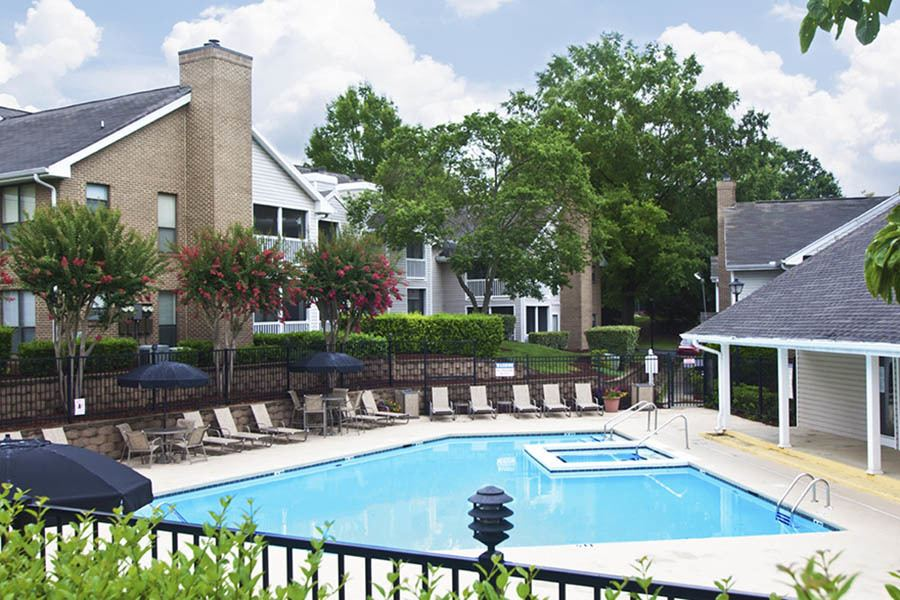 Pool at apartments in Charlotte