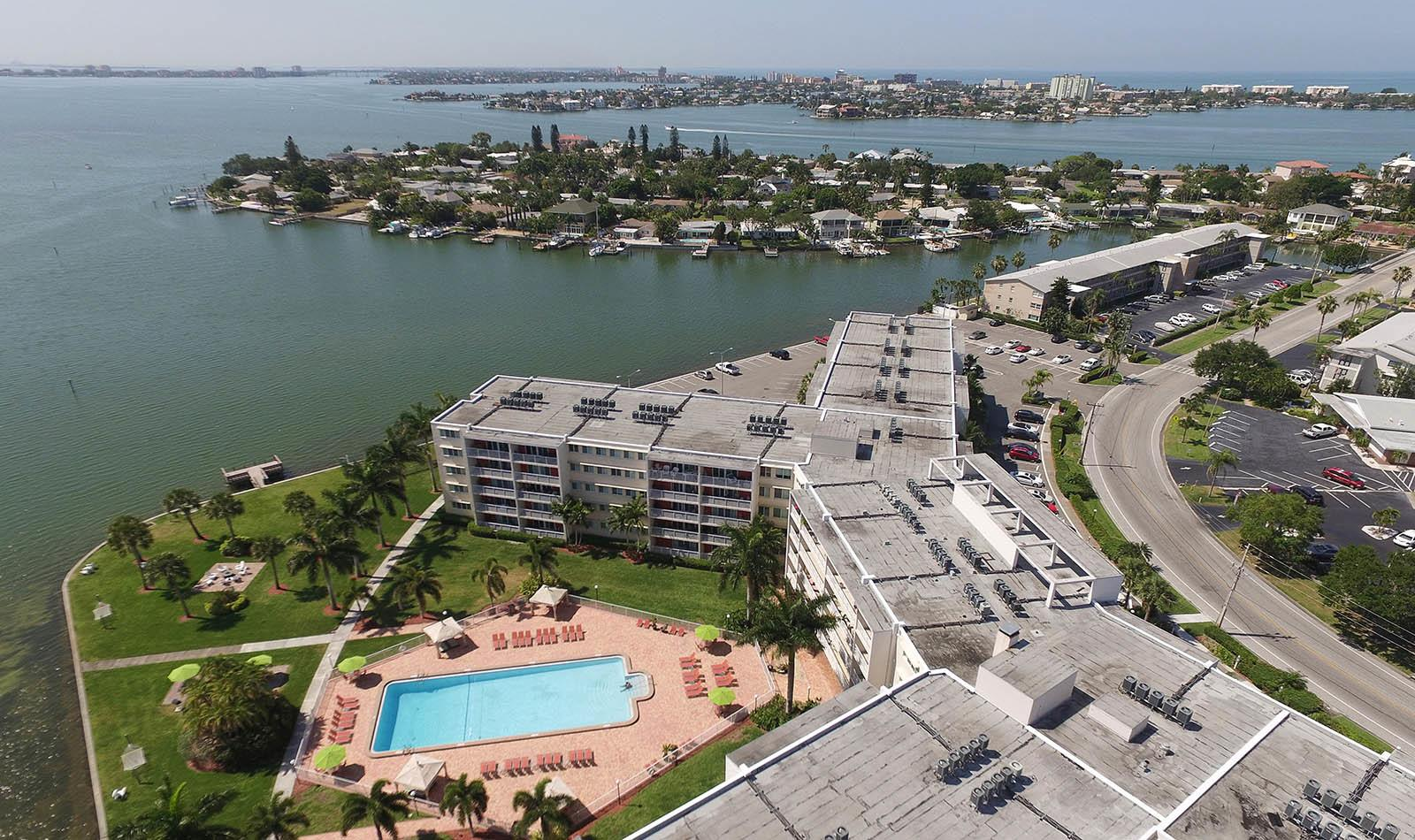 Aerial view at Waters Pointe Apartments in South Pasadena, FL