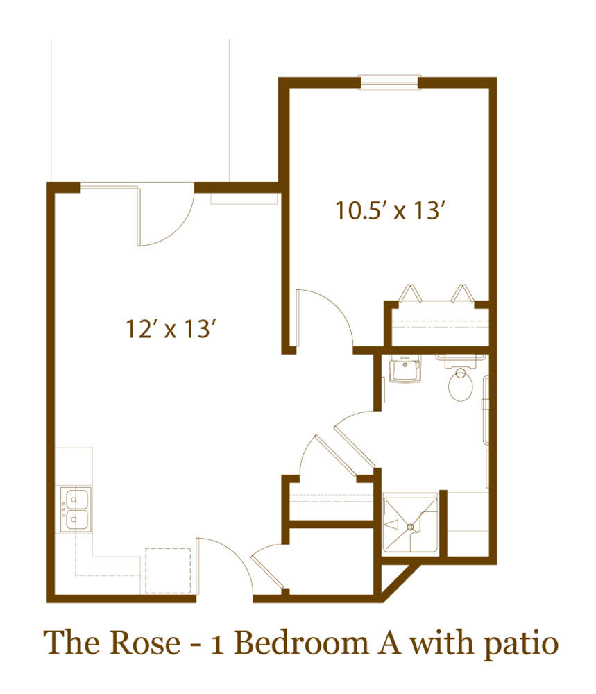 one bedroom apartment with patio