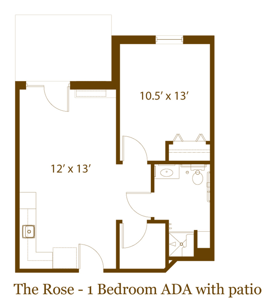 1 bedroom with patio
