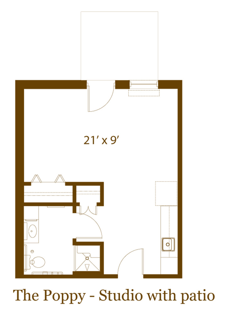 Studio apartment with patio