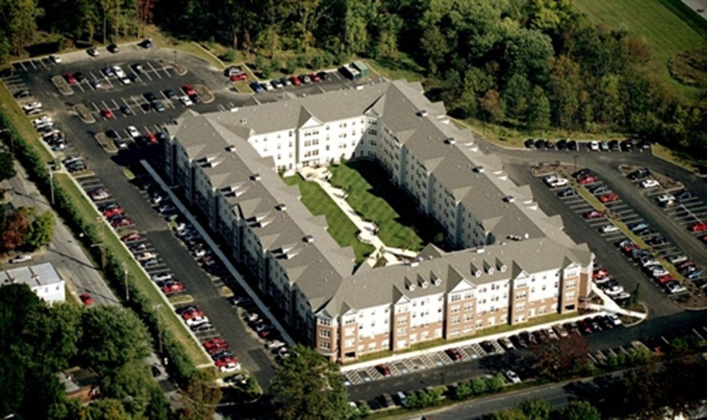 Aerial view of the apartments for rent in The Edge at West Chester