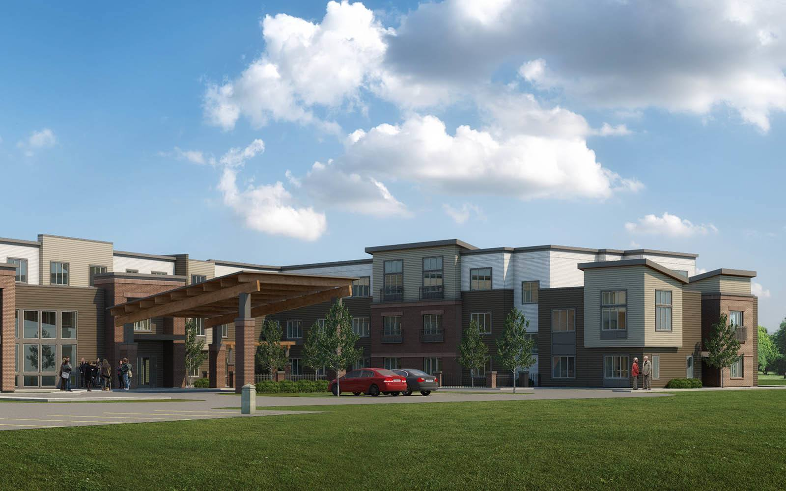 Rendering Of Memory Care Facility Grounds at Brightwater Senior Living of Tuxedo in Winnipeg, MB