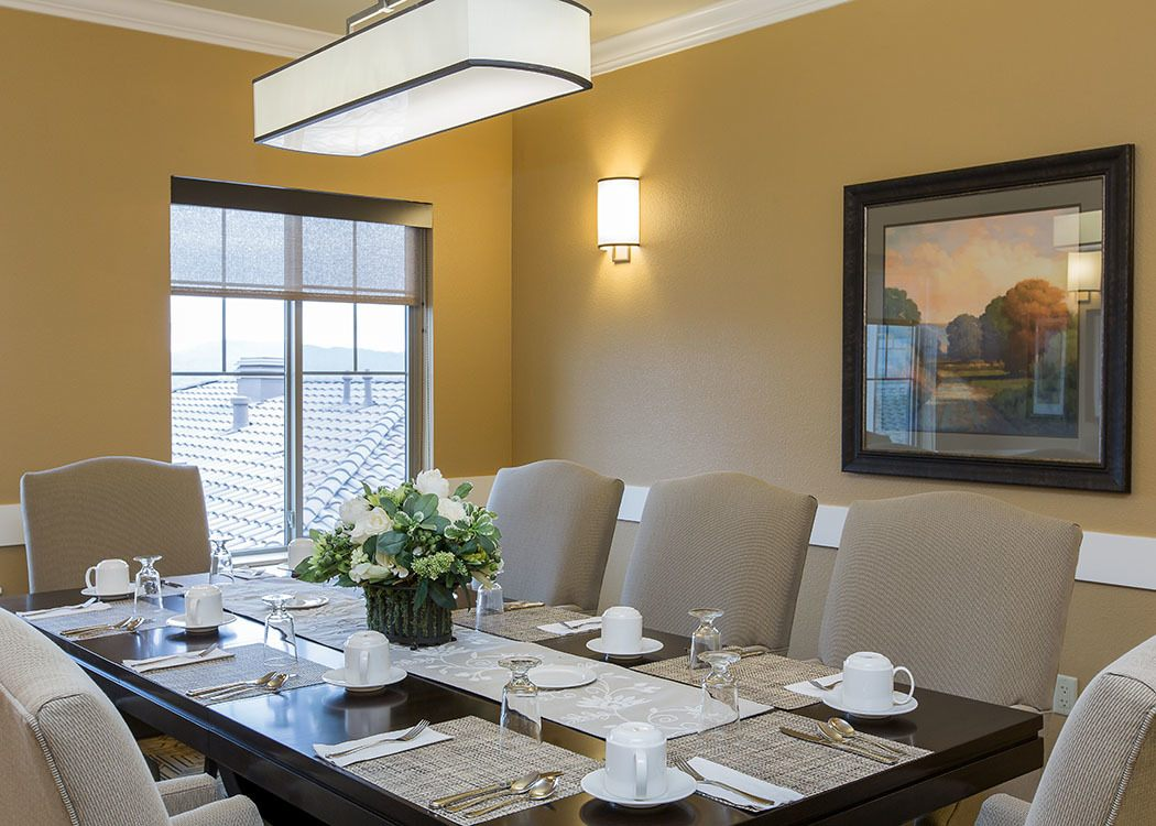 Place settings on the dining room table at Brightwater Senior Living of Highland