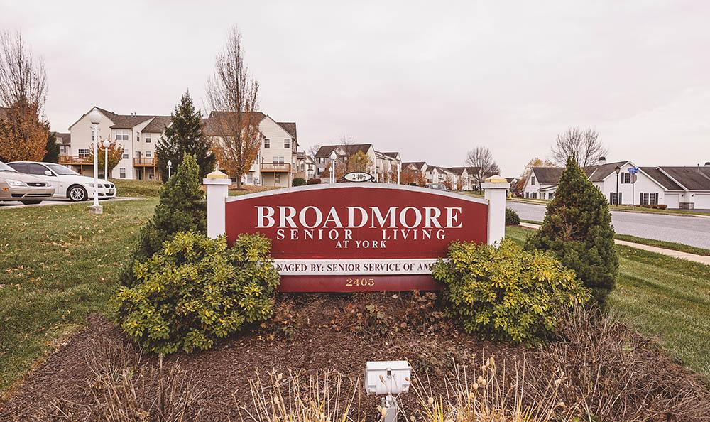 Broadmore Senior Living at York exterior signage