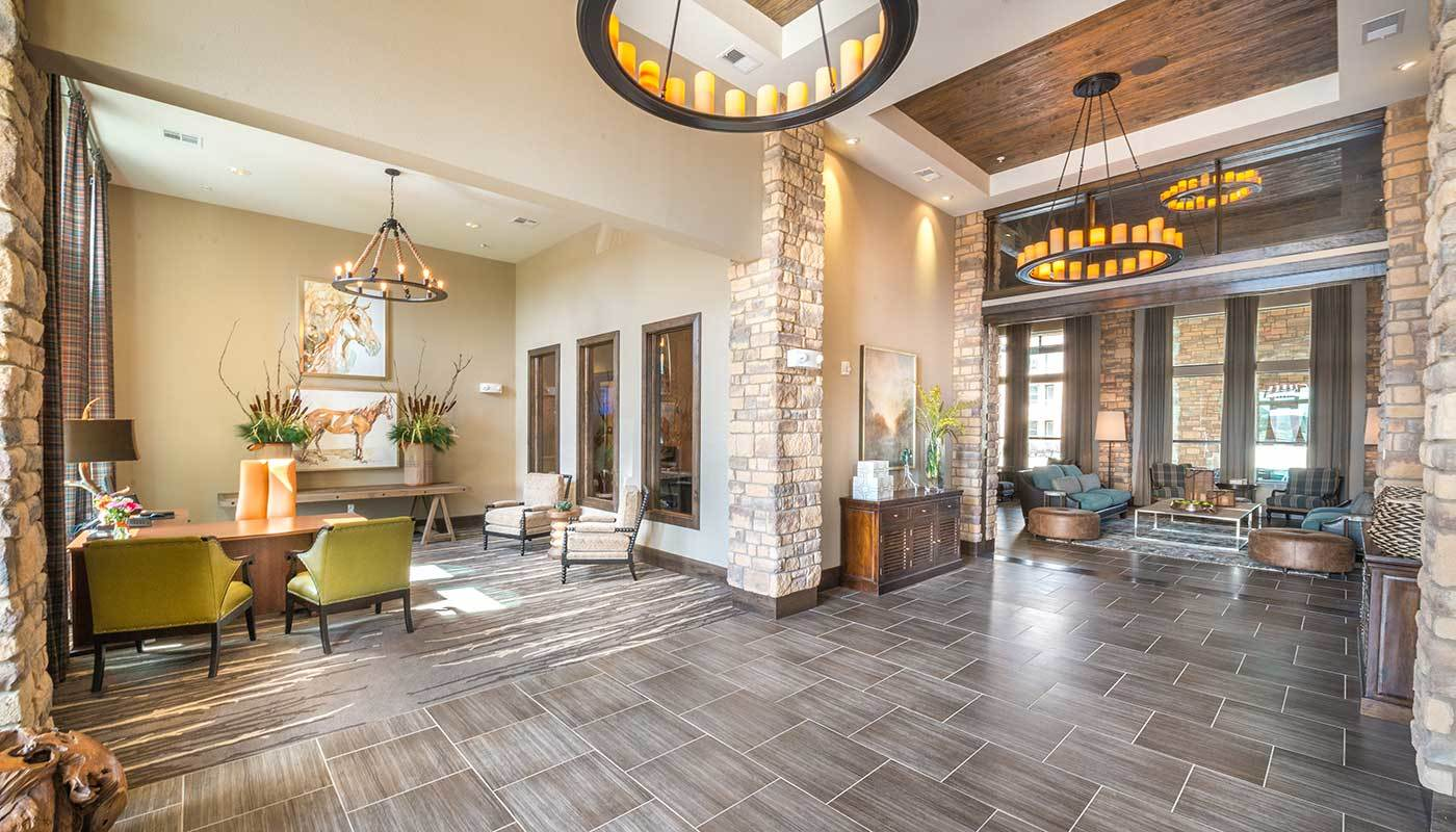 Lavish entryway interior at The Abbey at Spring Town Center in Spring