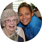 A caretaker with senior resident at Carriage Court of Hilliard