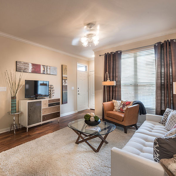 A living room in one of the floor plans at Avana Brazos Ranch Apartments in Rosenberg