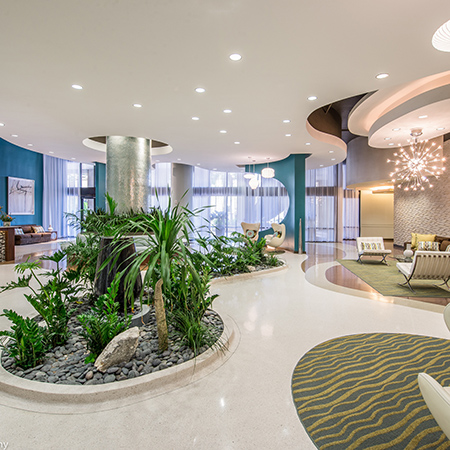 View of our gorgeously decorated lobby at 55 West Apartments