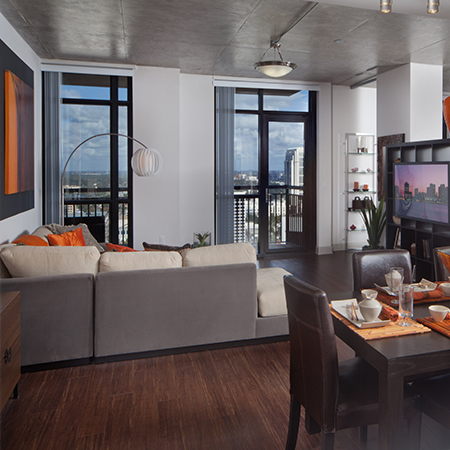 View of one of our well-appointed, luxury apartment home models at 55 West Apartments