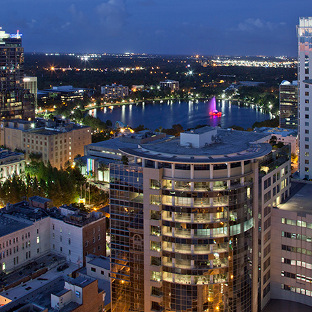 View of the Orlando skyline from the 55 West Apartments roof