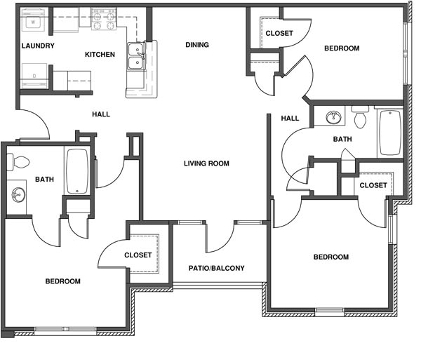 Apartment Floor Plans 3 Bedroom affordable 2 & 3 bedroom apartments in manhattan, ks