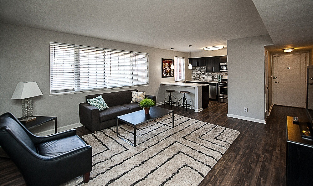 Spacious living room in The Flats at Douglas