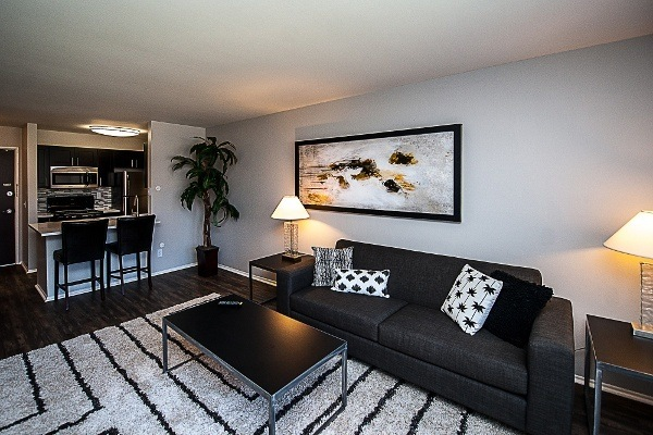 The living rooms in our apartments at Spice Tree Apartments have large windows and wood floors