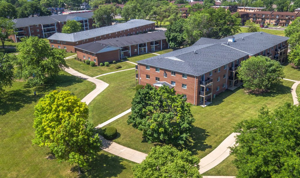 Check out the view of the beautiful apartments from a drone at Mount Prospect Greens Apartments