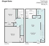 Printable floor plan 3 at Chapel Oaks Apartments