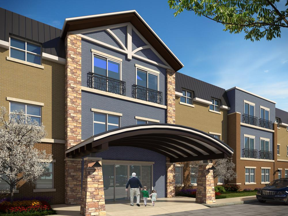 Exterior view of our entrance at Aspired Living of Westmont in Westmont, IL