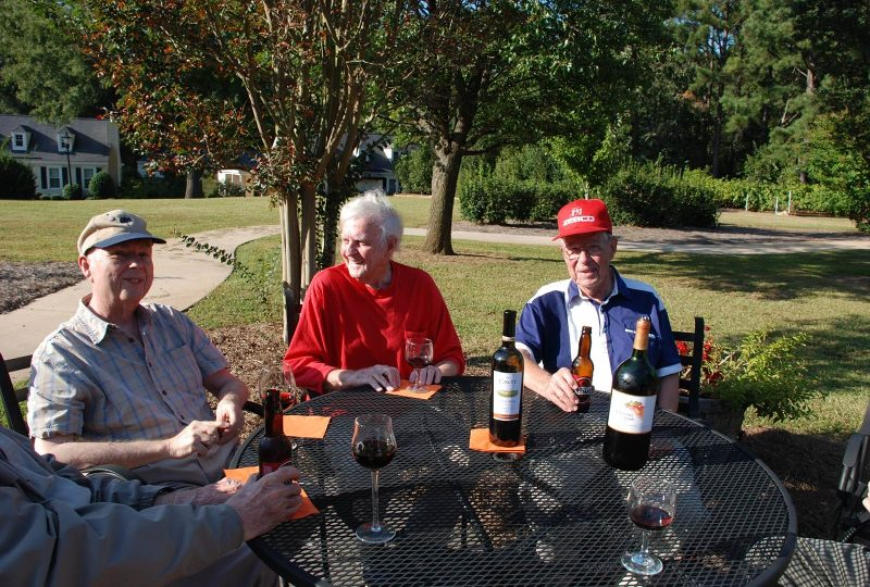 Men's happy hour outside at The Clinton Presbyterian Community