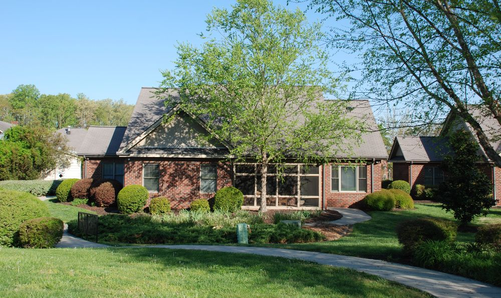 backyards and walking paths at The Foothills Presbyterian Community in Easley, SC